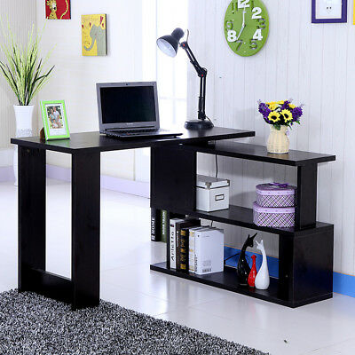 Computer Desk L-Shape Corner Home Office Study Table S-Shape with 2 Side Shelf