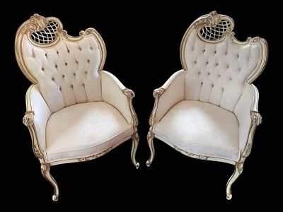 Pair of Vintage French Provincial Fireside Chairs Doves & Ribbons  Upholstery