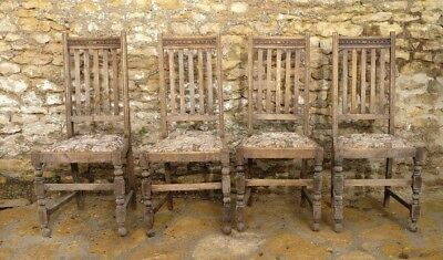 Set of FOUR OAK DINING CHAIRS with Embroidered / Tapestry  -  Mid 20th Century