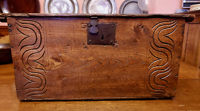 18th century carved elm coffer chest original ironwork