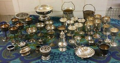 Job Lot ~37~Vintage Silver Plated Items~Trophy~Ice Buckets~Goblets~Etc~ 9.1 kgs