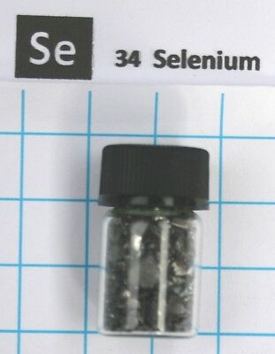 5 gram 99.99% black/blue Selenium pieces in glass vial - Pure element 34 sample