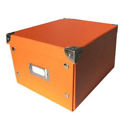 Ablageboxen 2er Set orange gross mit Metall-Ecken 26x21x15cm