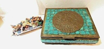 Mexico Calendar Brass Copper And Turquoise Color Tile Box Handcrafted Vintage