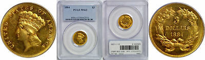 1884 $3 Gold Coin PCGS MS-63