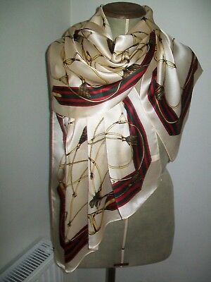 Huge ! A Gorgeous Equestrian Themed Design Vintage Silk Scarf