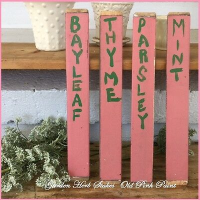PRIMITIVE Antique 4 HERB Wooden GARDEN Marker Vtg STAKES Old PINK Paint THYME ++
