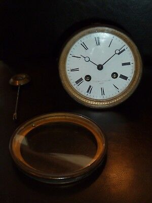 French Japy Freres striking clock movement c1873 pendulum dial bezel, back door