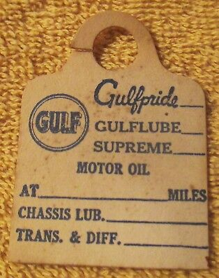 Gulf Gas Station Service Reminder Tag Oil and Lube Reminder Dip Stick Tag