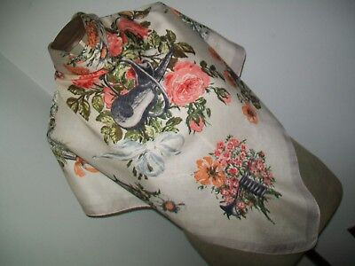 Jacqmar. Lovely Old 1940's Musical /floral Themed Design Vintage Silk Scarf
