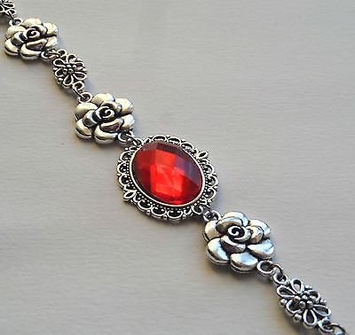 Camellia Filigree Victorian Style Faceted Orange Red Silver Plated Bracelet Cfb