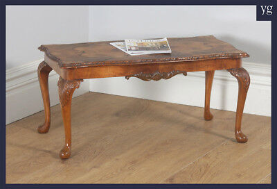 Antique English Queen Anne Style Carved Burr Walnut Rectangular Coffee Table