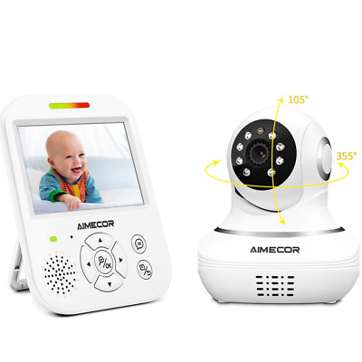 Video Baby Monitor with Camera - 3.5 inch IPS Display, Motorized Pan/Tilt,HD Nig