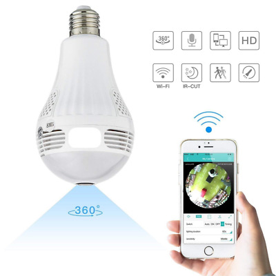 1080P Wifi Hidden IP Camera Light Bulb 360 Degree Night Vision Home Security Cam