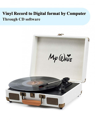 My Wave Turntable Portable Suitcase Record Player with Built-in Stereo Speakers,