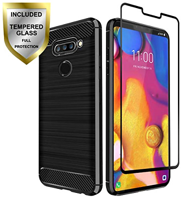 LG V40 THINQ TPU Leather Texture Designed Case Tempered