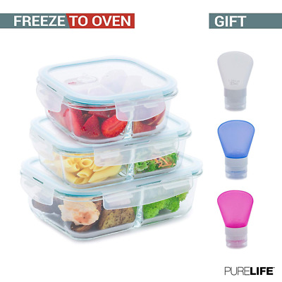 Set of 3 Pcs 50 34 & 27oz Glass Food Storage Containers Divider & Airtight Lids