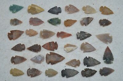 "35 PC Flint Arrowhead Ohio Collection Points 1"" Spear Bow Knife Hunting Blade"