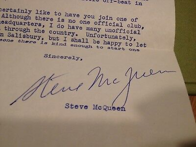 Personal Letter Signed Autograph From Steve McQueen 1959