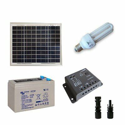 Solar Lighting Kit Fluo 10W 12V SR for Interior Photovoltaics AGM Battery 8Ah