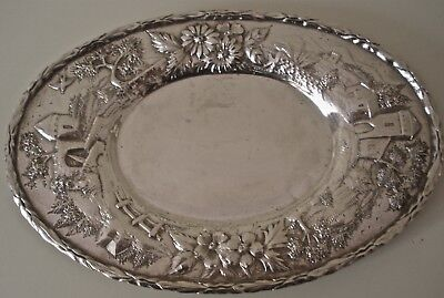 Beautiful  S Kirk Co Architectural Castle Landscape Repousse Sterling Tray 1905