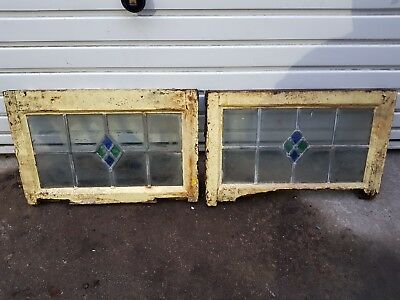 Vintage Stain Glass Leaded Windows x 2