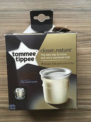 4 Tommee Tippee Breast Milk Storage Pots Containers Closer to Nature Baby