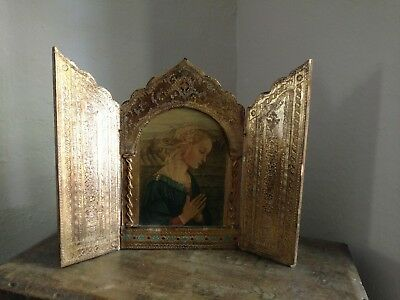 """HUGE """"Tole Wood Italian Florentine Turquoise Blue Gold Red Triptych Altar Icon"""
