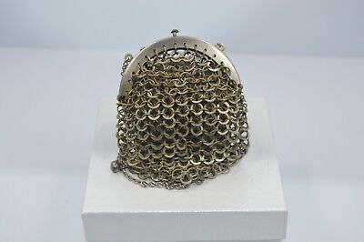 Exquisite Vintage Ladies Mesh Metal Coin Purse with Metal Strap #M