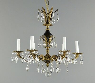 Spanish Brass & Crystal Empire Chandelier c1940 Vintage Antique Gold Ceiling