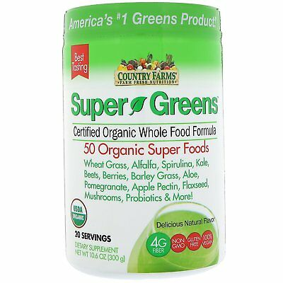 Country Farms Super Greens Certified Organic Whole Food Formula Delicious