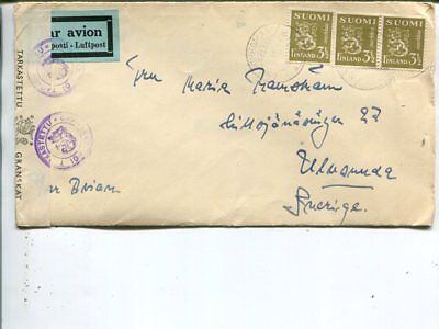 Finland censor air mail cover to Sweden 6.7.194x.