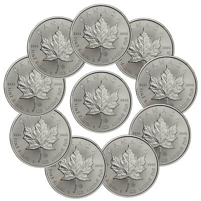 Lot of 10 - 2019 Canada 1 oz. Silver Maple Leaf $5 Coins SKU55537