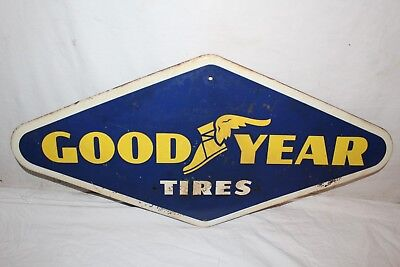 "Vintage 1965 Goodyear Tires Tire Gas Station 28"" Metal Sign"