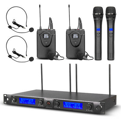 Pro UHF Audio Wireless Microphone System 4 Channel 2 Handheld 2 Headset Lavalier