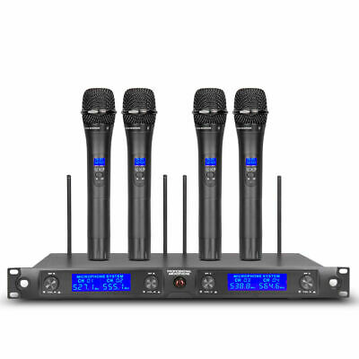 Pro Audio UHF Wireless Microphone System 4 Channel 4 Handheld Mic Whole Metal