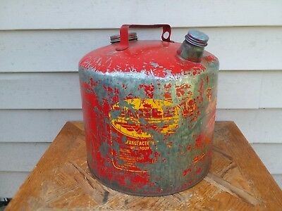 Vintage Eagle Galvanized/metal 5 Gallon Gasoline Can Wellsburg Wv Made In Usa