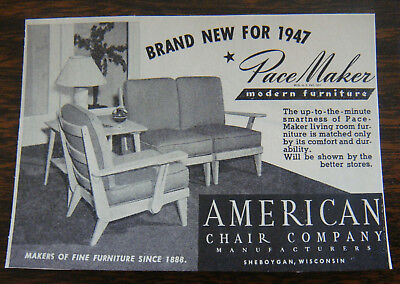Nicely Mounted ORIGINAL 1947 American Chair Co Sheboygan PaceMaker Furniture Ad