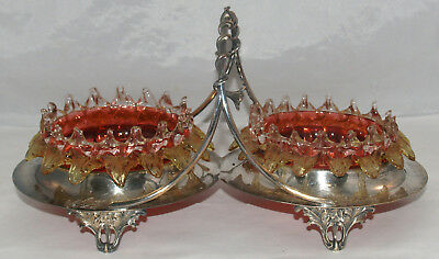 Antique Victorian Art Glass Silverplated Stevens & Williams Double Sweetmeat