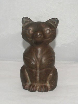Antique Cast Iron Figural Doorstop Seated Cat Kitten
