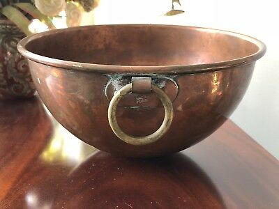 VTG French SOLID Copper Chocolate/Mixing Bowl Rolled Rim Made in France