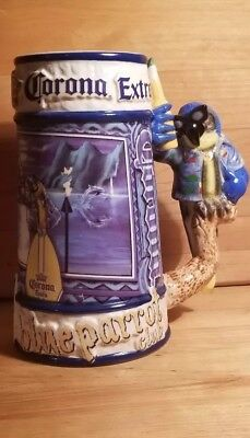 Vintage Corona Extra Collector Large Beer Stein Mug Blue Parrot Club.