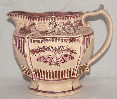 Antique English Porcelain Pitcher Pink Lustre Luster Molded Eagle Rose Pattern