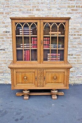 Antique Carved Oak French Gothic Bookcase c 1920-30