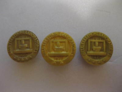 3 BELL TELEPHONE LABORATORIES 1875 SOLID GOLD 10K / 14k PINS SCREW BACK