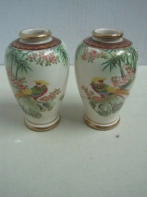 Antique lot of two Japanese Satsuma small Vases - Hand Painted