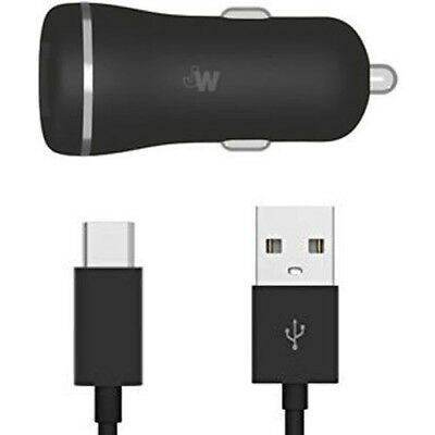 Just Wireless Dual USB Port QC3.0 Car Charger w/ 6-Ft USB-C Cable - Black