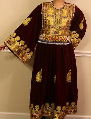 Afghan handmade attan ethnic nomadic red velvet wedding dress NEW large