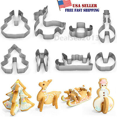 8pcs 3D Christmas Scenario Biscuit Cookie Cutter Set Stainless Steel Xmas Gift W