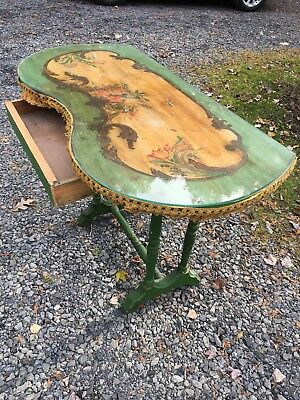 Antique Green French Providence Distressed Wood Vtg Console Table Green Floral